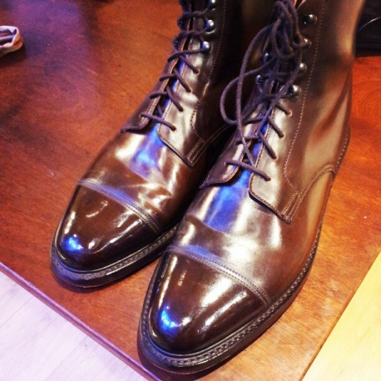 Two cordovan boots, above and below, with two very different creasing patterns...both good leather, one C&J, one VASS