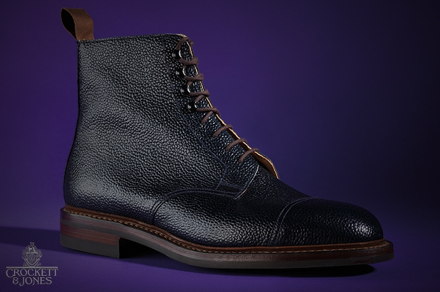 Navy Grain Boot by Crockett & Jones