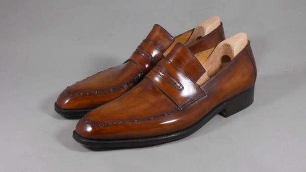 bespoke berluti brown penny loafers
