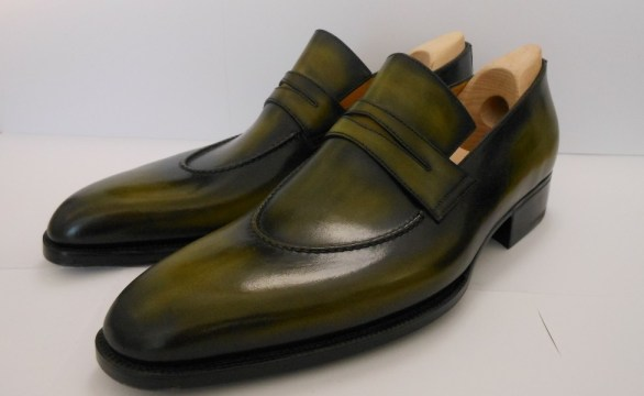 bespoke berluti green loafers