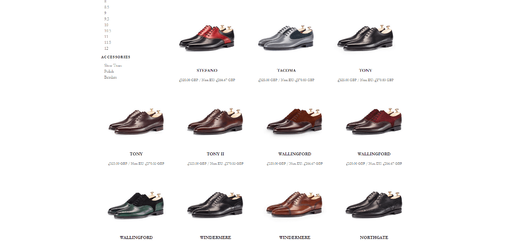 J.FitzPatrick shoes website screenshot