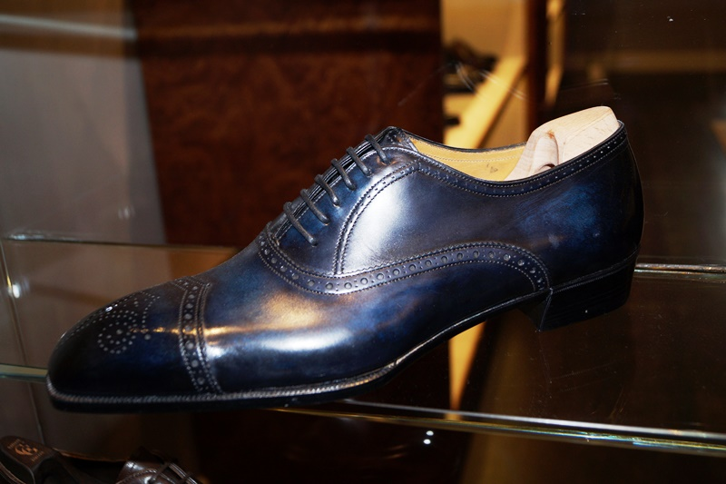 a beautiful blue patina on a bespoke shoe