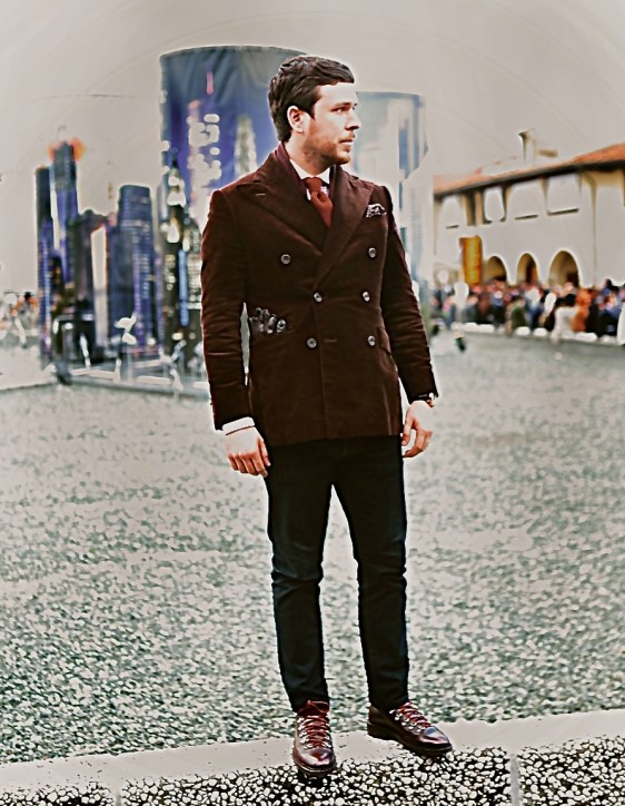 My share of the peacockery, above and below. This photo courtesy of Lyle Roblin for Parisian Gentleman