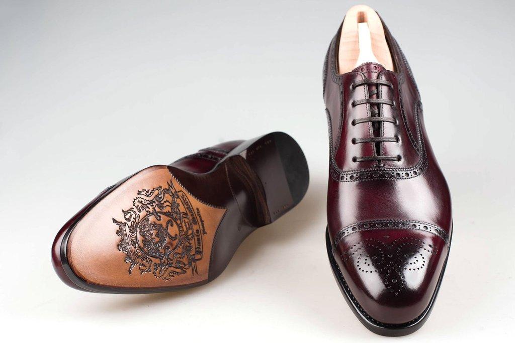 Burgundy and Black Leather Brogues Paolo Scafora C6pc8cxPX