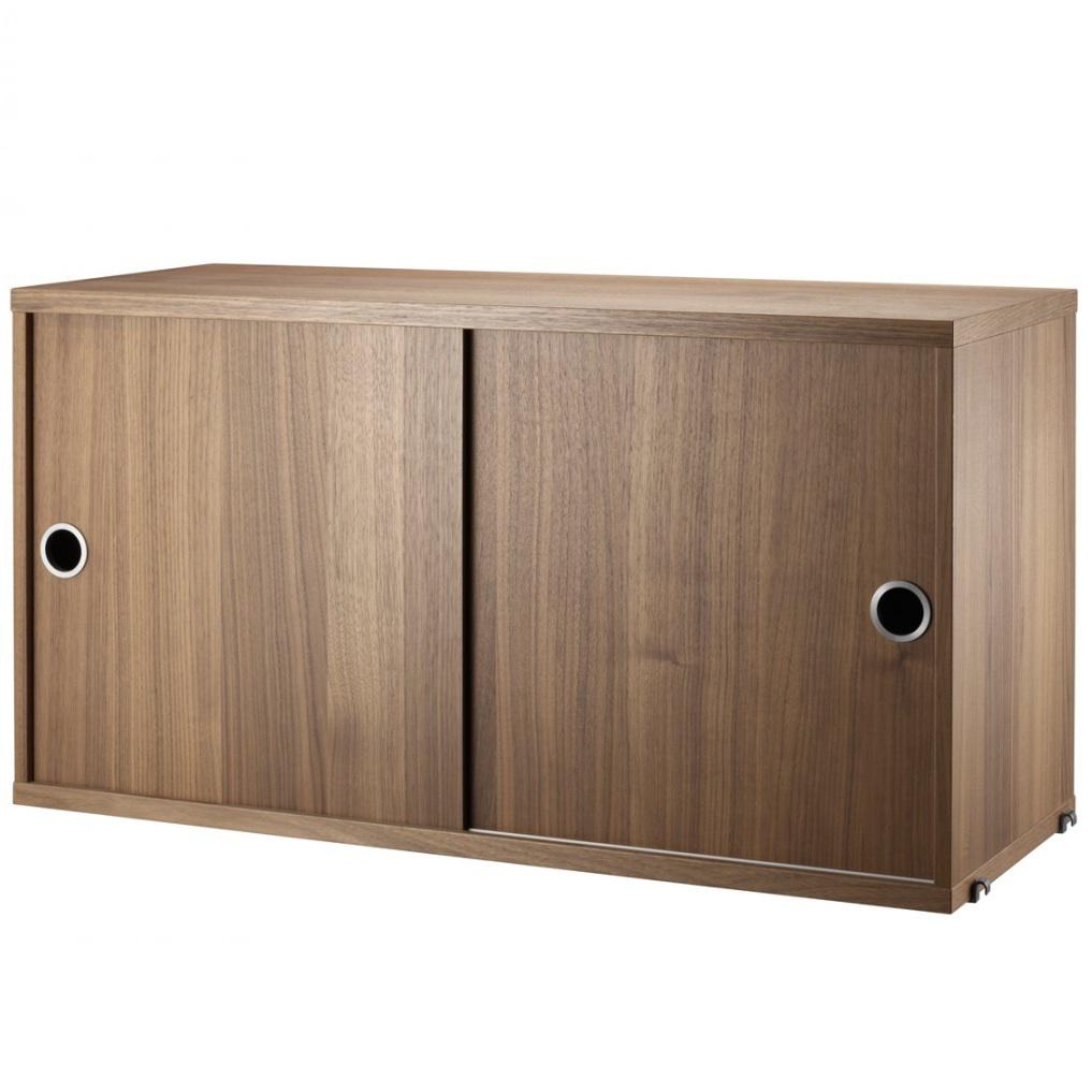 string cabinet sliding doors walnut