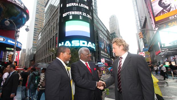 president koroma at NASDAQ sept 2011