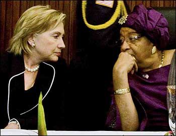 Hillary Clinton with Liberian president