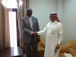 Saudi Fund -  Momodu Kargbo in warm hand shake with the Saudi Fund Director General