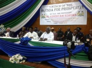 President koroma launches AGENDA FOR PROSPERITY - 12 July 2013