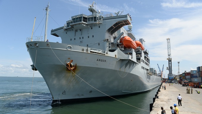 British RFA Argus arrives in Freetown - 30 Oct 2014