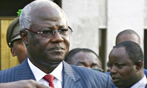 Sierra Leone president Ernest Bai Koroma in suit and red tie