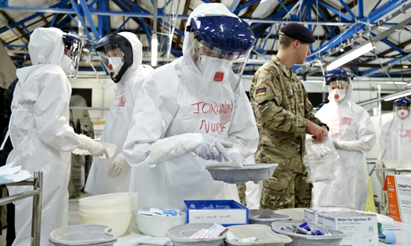 NHS staff train at an army facility near York before their deployment to Sierra Leone to fight Ebola