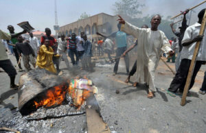 People demonstrate in Nigeria's northern