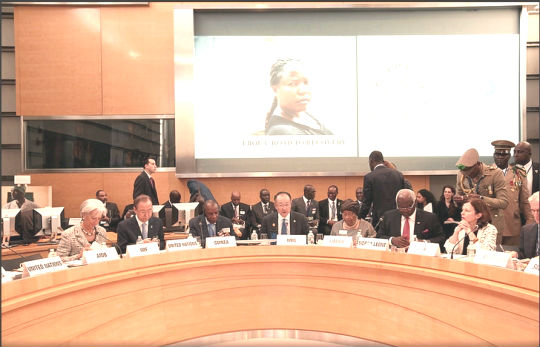 President Koroma – third from right  at the Ebola Recovery Plans High-level Roundtable