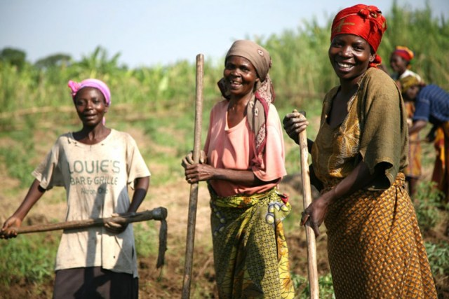 Women are growing vegetables in the Ruzizi plain, near Uvira, south Kivu province, Democratic Republic of the Congo, on October 12, 2007.