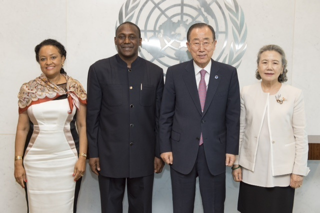 Secretary-General Ban Ki-moon (right) meets with Mr. Kandeh Yumkella, Special Representative of the Secretary-General, Sustainable Energy for All [Farewell Call]