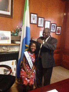 Ambassador Bokarie Stevens Sierra Leone Ambassador to the United States crowns Ruby B Johnson Sierra Leone's Queen Eco 2015