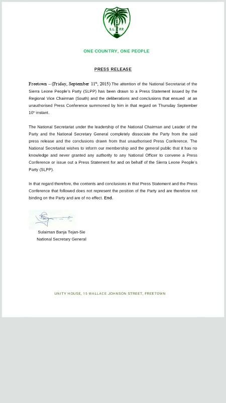 Sullaiman Banja Tejan-Sie statement – 11 Sept 2015