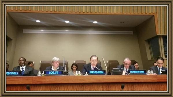 UN Ban Ki moon welcoming Yumkella successor Kyte to the UN - 16 sept 2015
