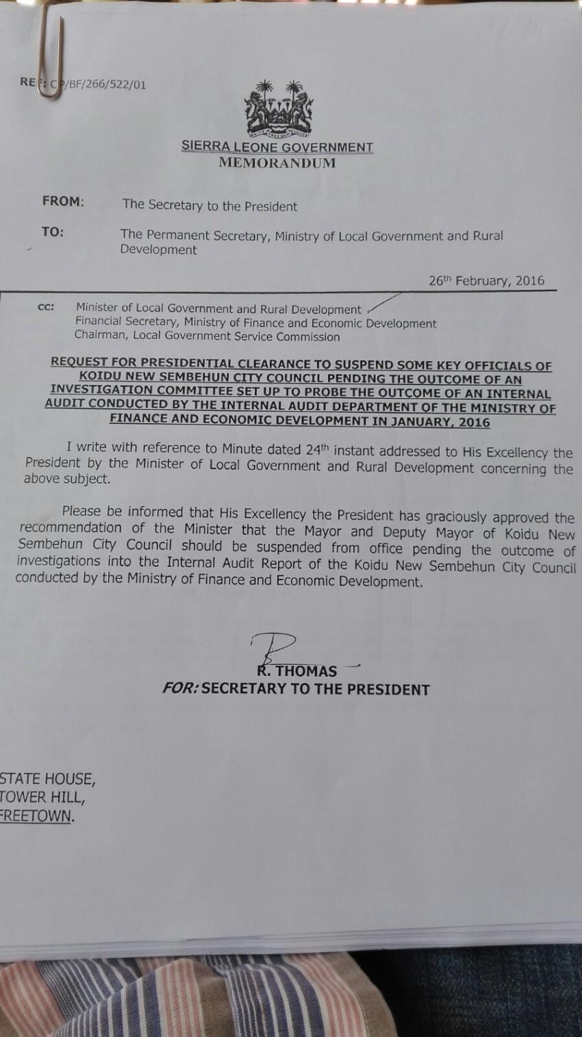 President Koroma suspends mayor Lamina of koidu