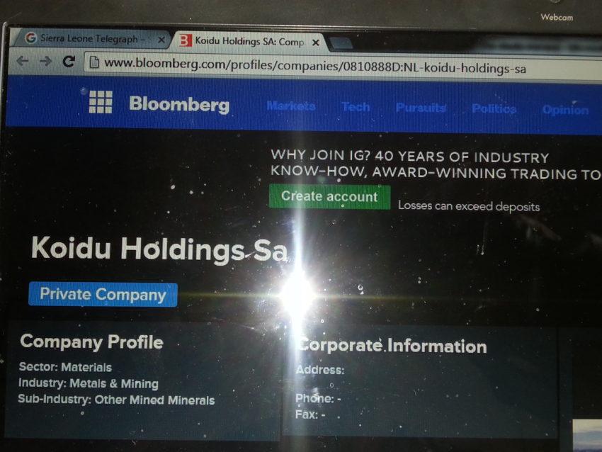 Koidu Holdings - Bloomberg deleted info