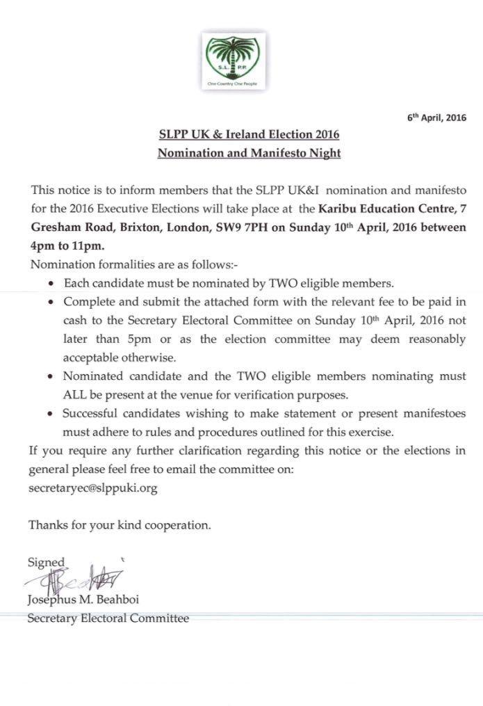 SLPP UK Executive election 2016