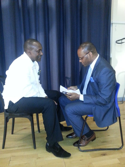 Kandeh Yumkella speaking with telegraph editor Abdul Rashid Thomas in London in 2016.