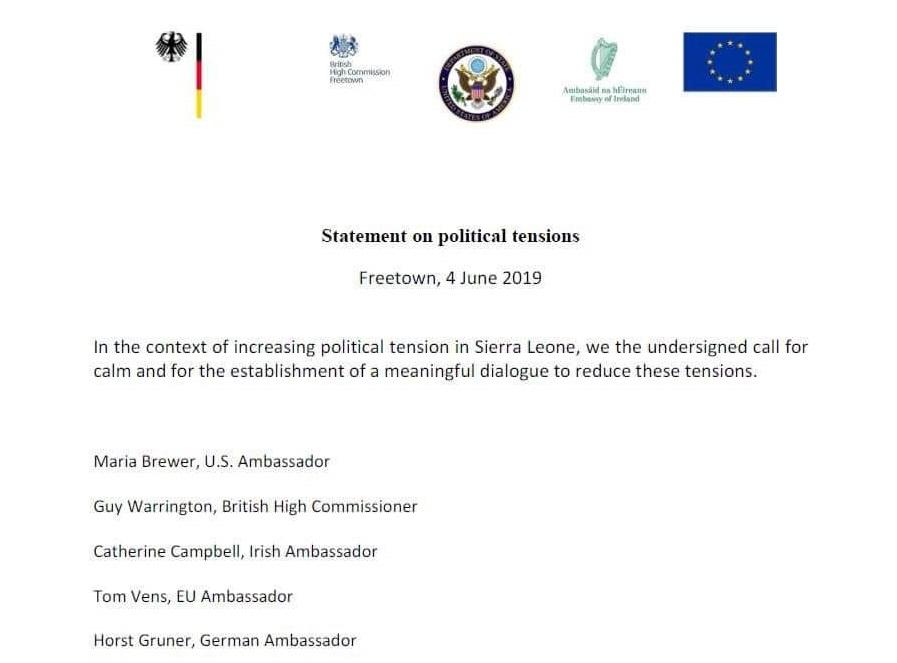 International community statement on political unrest in Sierra leone