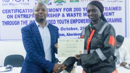 training on entrepreneurship and sustainable waste treatment for 200 youths from Freetown 1