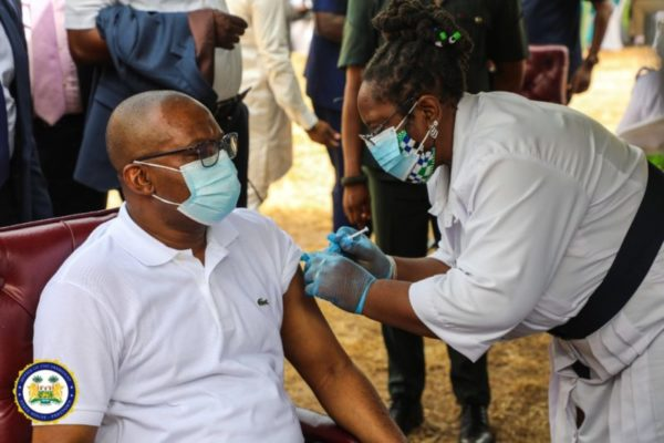 Sierra Leone's President Bio leads the way in taking COVID-19 Vaccine – vice president jalloh takes vaccine