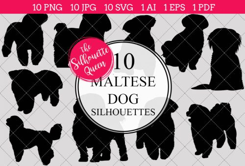 small resolution of maltese dog silhouettes clipart clip art ai