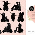 Couples On A Scooter Silhouette Vespa Vector Romantic Date On Moped Svg Png Jpg Clipart Clip Art Logo The Silhouette Queen