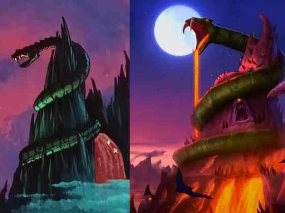 Comparison between 80s Snake Mountain and Masters of the Universe: Revelations Snake Mountain.