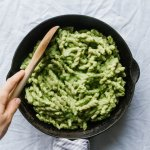Creamy Spinach Cannellini Pasta with almond parmesan and crispy beets