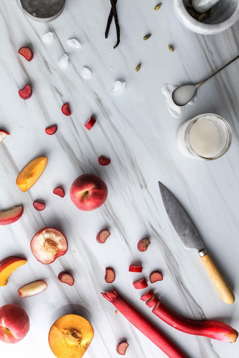 Peach Rhubarb Lassi - The Simple Green