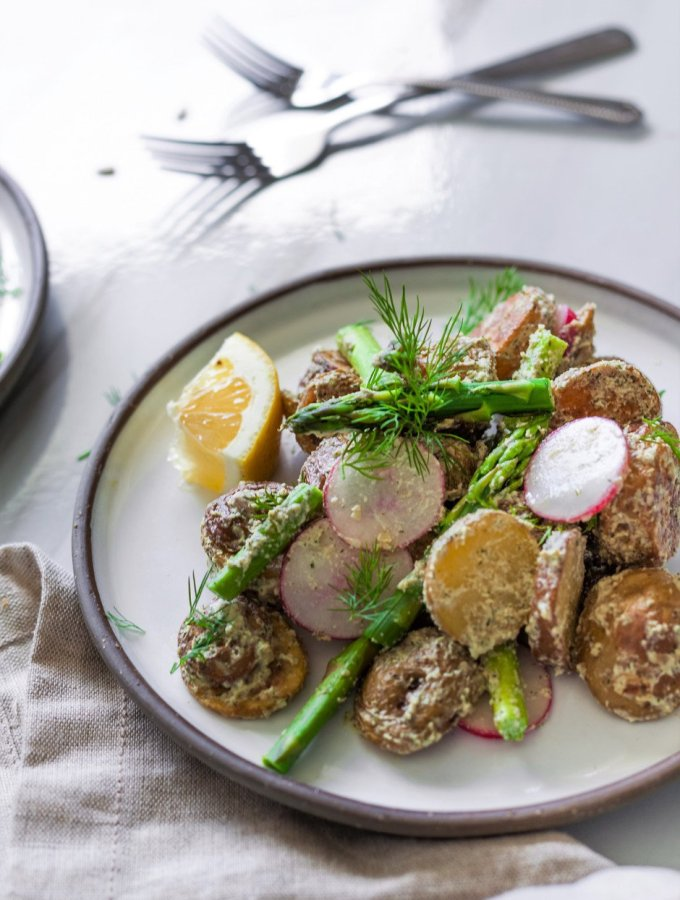 Roast Potato Salad w Dijon Toss