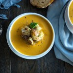 Butternut squash soup with lemon roasted cauliflower