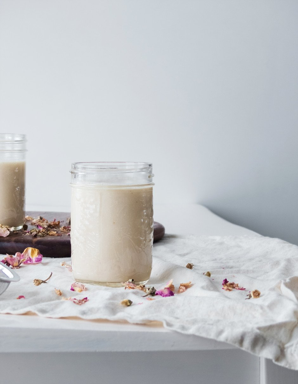rose almond milk tea - the simple green