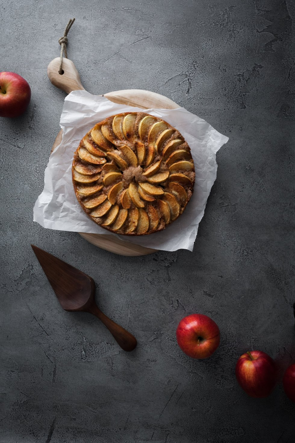 vegan german apple cake overhead