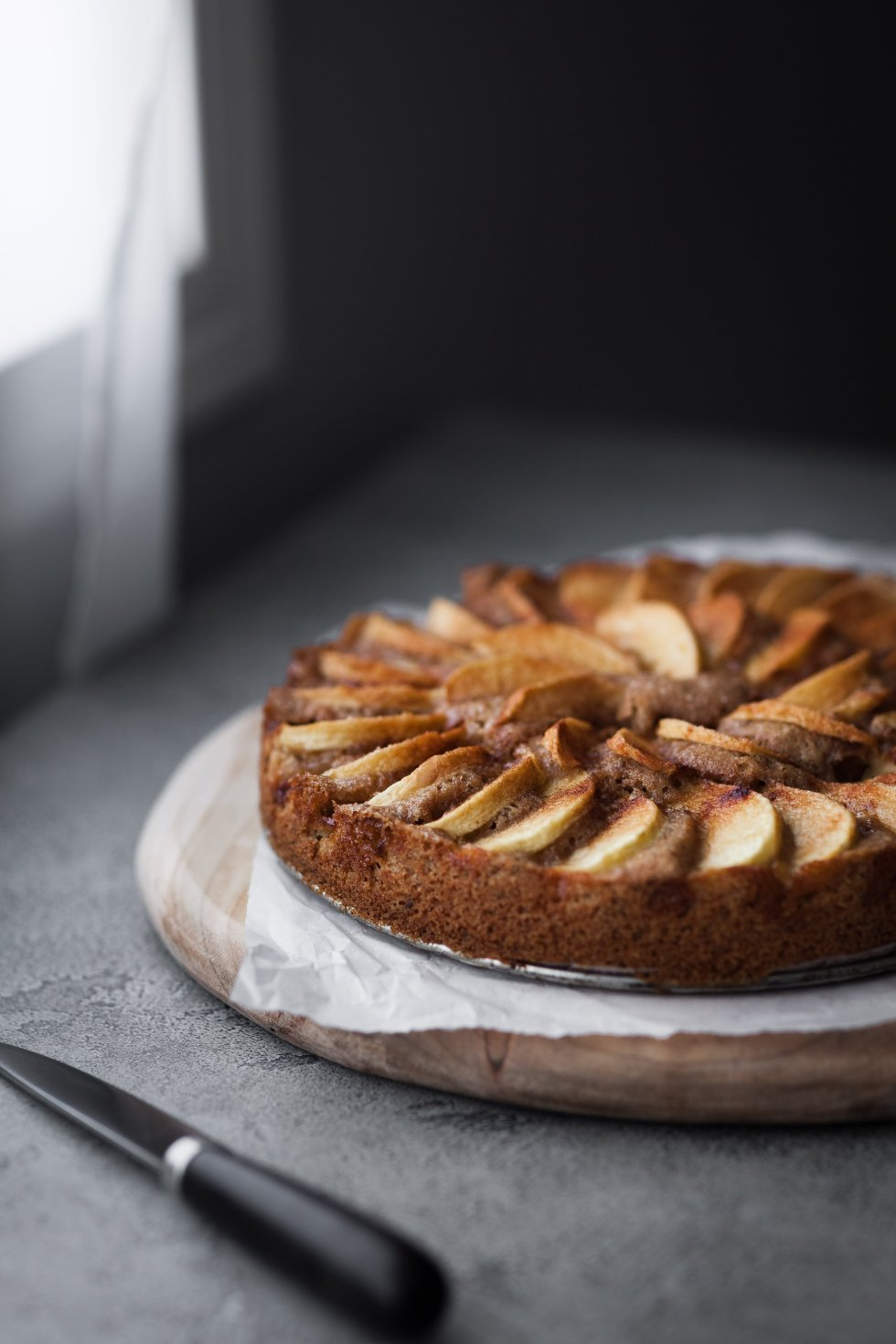 vegan german apple cake side view