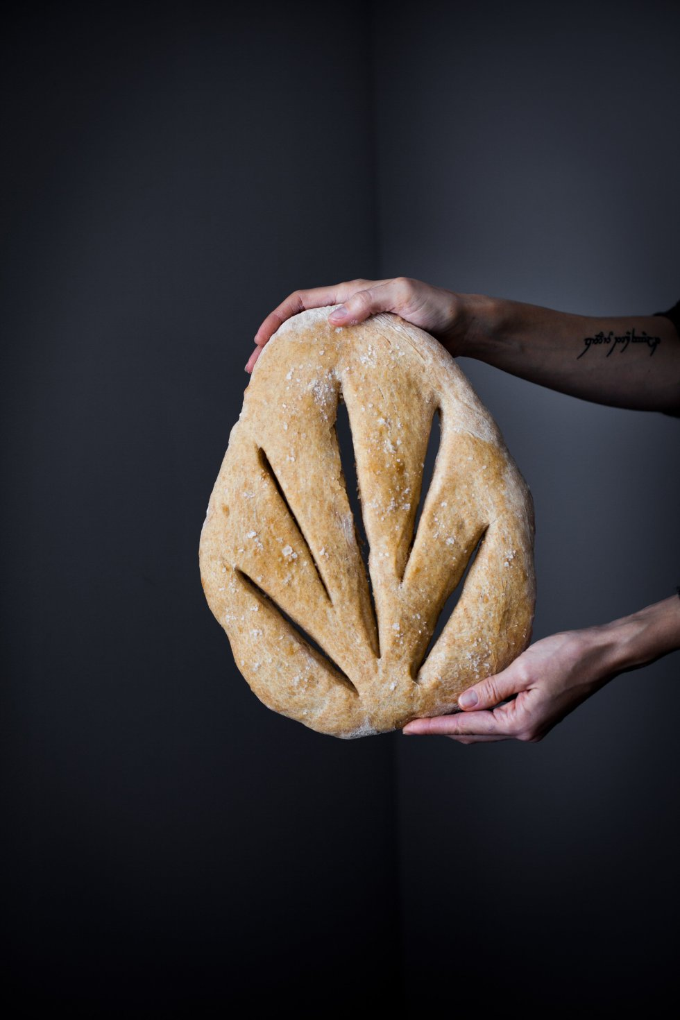 No Knead Garlic Fougasse