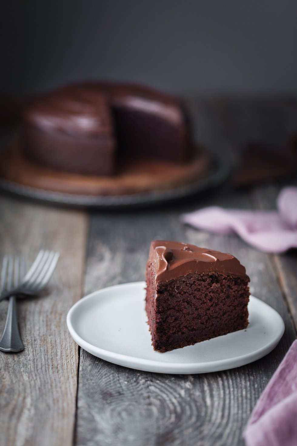Double Chocolate Beetroot Cake with slice in foreground