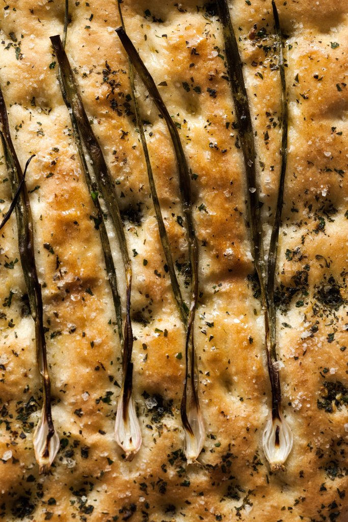 overhead close up of focaccia bread.