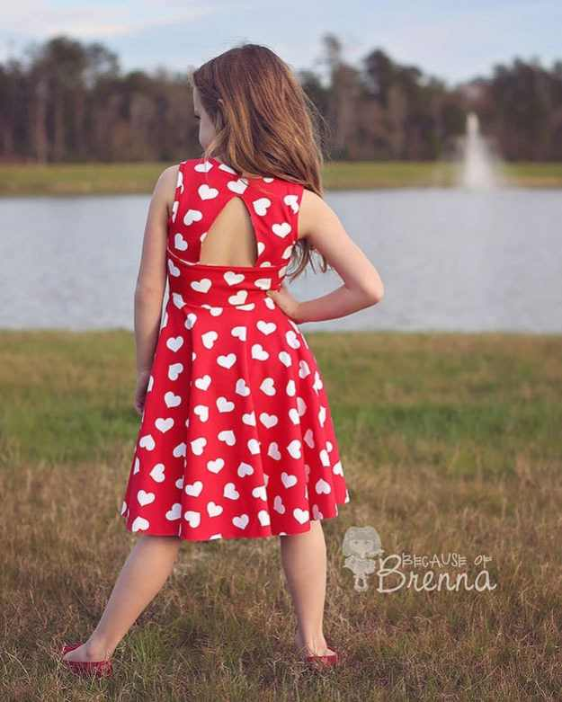 Paisley's Open Back Peplum Top + Dress | The Simple Life Pattern Company PDF sewing pattern girls tween cross back knit peplum top shirt dress with gathered skirt or circle skirt twirl spin dress fall spring winter summer sewing downloadable pattern long sleeves