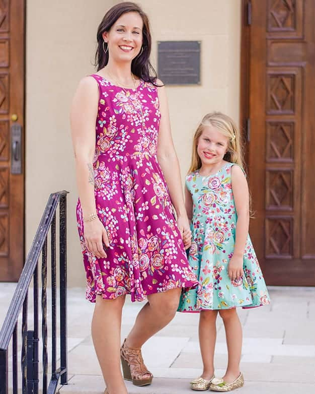 Simple life pattern company in collaboration with Sew caroline women pdf sewing patterns Ayda V back peplum top and dress open back flutters tank easy modern sewing patterns ladies mommy momma and me girls beginner easy fast