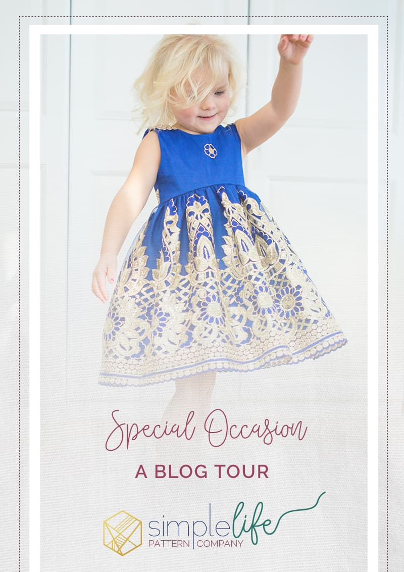 special occasion holiday blog tour I The Simple Life Pattern Company Jaimesyn double flutter Holiday dress gold lace overlay fancy party christmas dress wedding flower girl easter vintage style dress sewing PDF pattern beginner easy fast open back v back button placket dress