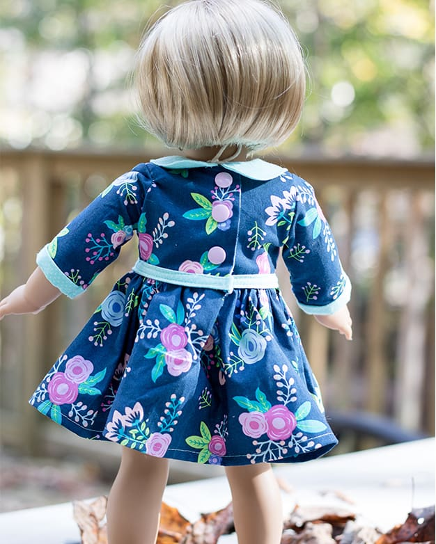 Simple Life pattern company doll Wendy dolly peter pan collar cuffs skinny belt dress vintage doll patterns for american girl wellie wisher and bitty baby and my generation