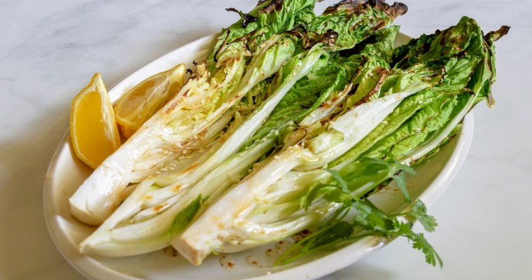 Grilled Napa Cabbage with 3 Ingredient Dressing