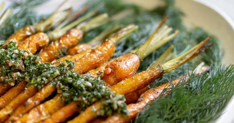 Roasted Carrots with Dill Pesto
