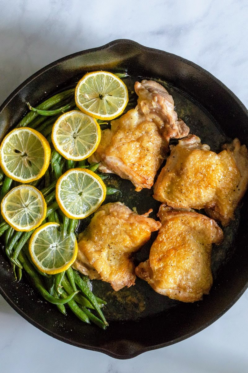Fresh Green Beans with Chicken Thighs and Lemon Pepper Seasoning